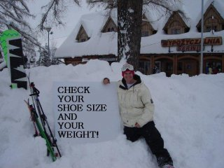 Shoe size and weight for holidays in Zakopane, Poland