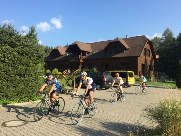 Setting off from the chalet for a sunny ride back through to Zakopane from Slovakia