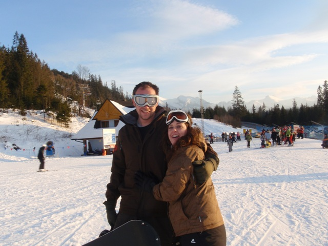 Nat and Jess on the slopes in Zakopane
