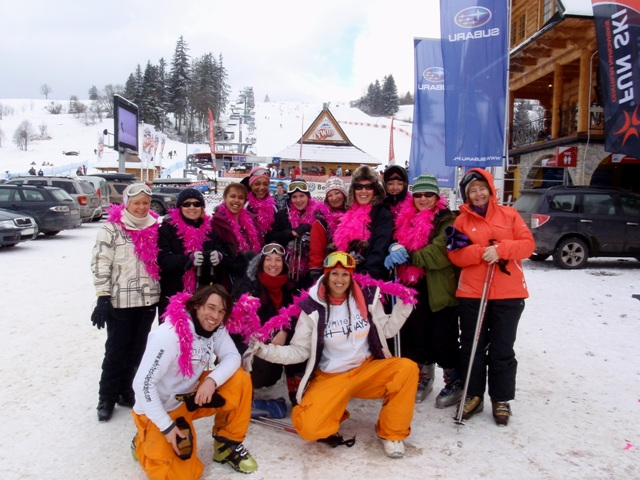 David, Monika and the girls out skiing for the weekend