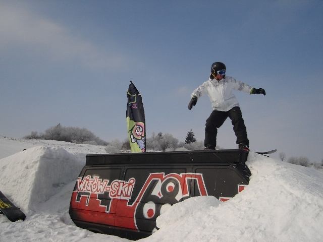Steve enjoying the snow park at Witow