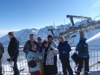 Enjoying a blue bird day on Kasprowy Wierch during a family ski trip to Zakopane with White Side Holidays Poland