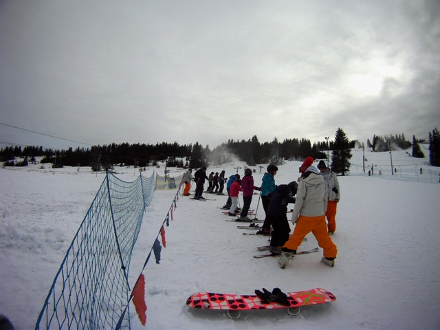 Some of our guests learning to ski on New Years day 2012