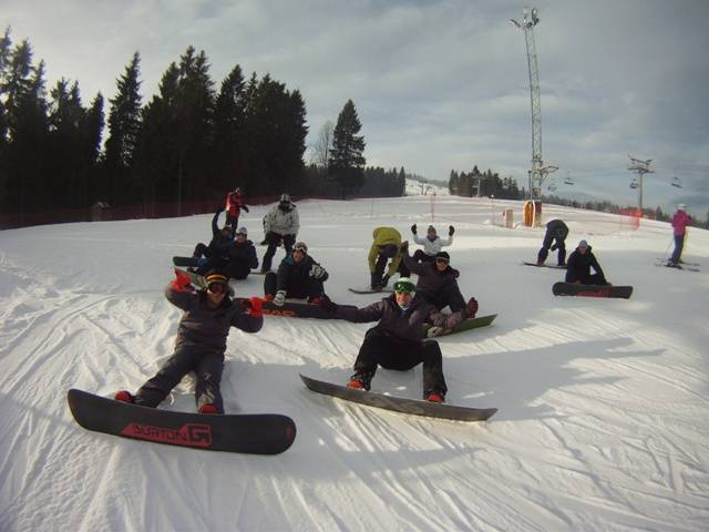 Some of our 2011/12 New Years guests enjoying a sunny day on the slopes