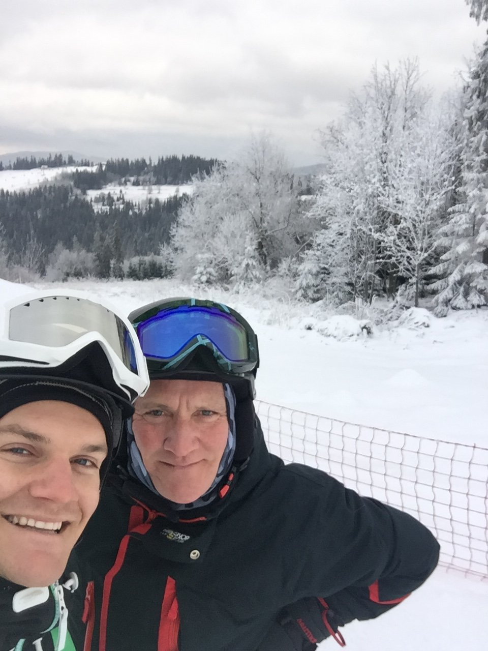 Gaz and his dad skiing in Bialka on a lovely day in January