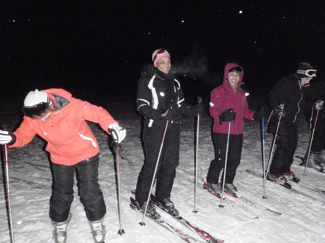 The girls enjoying a spot of night skiing during their weekend away in Zakopane with White Side Holidays Poland