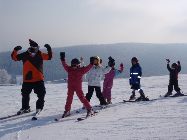 One of ski instructors Tom entertaining the kids
