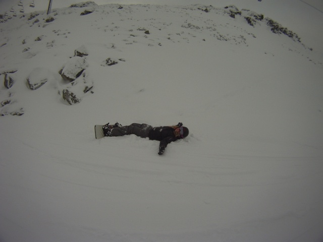 Jess testing out boarding in the powder for the first time, pretty soft for landing in! 18th january 2013