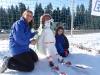 Katie's amazing snowman and her mum!