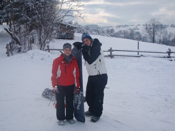 Val and Justin learning to snowboard at Harenda Ski Area