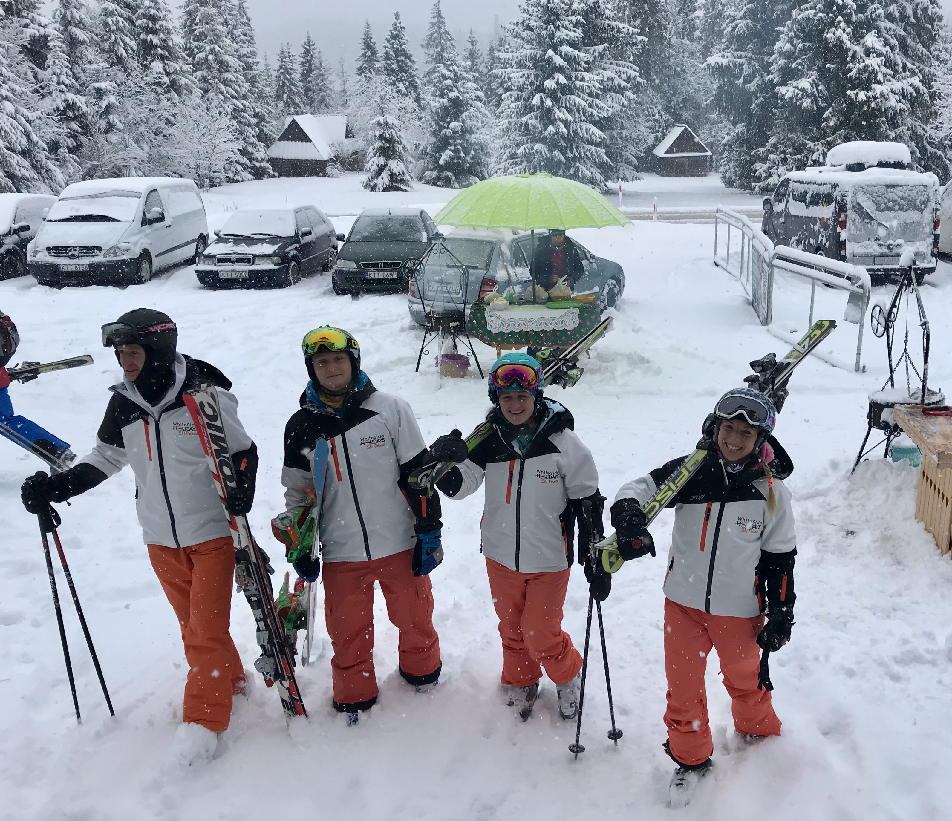 Some of our instructor team rocking up to work on a snowy morning at Jurgow