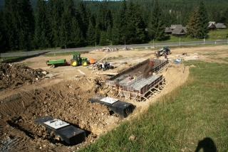 The new chair lift base building going up at Jurgow Ski Area, August 2012