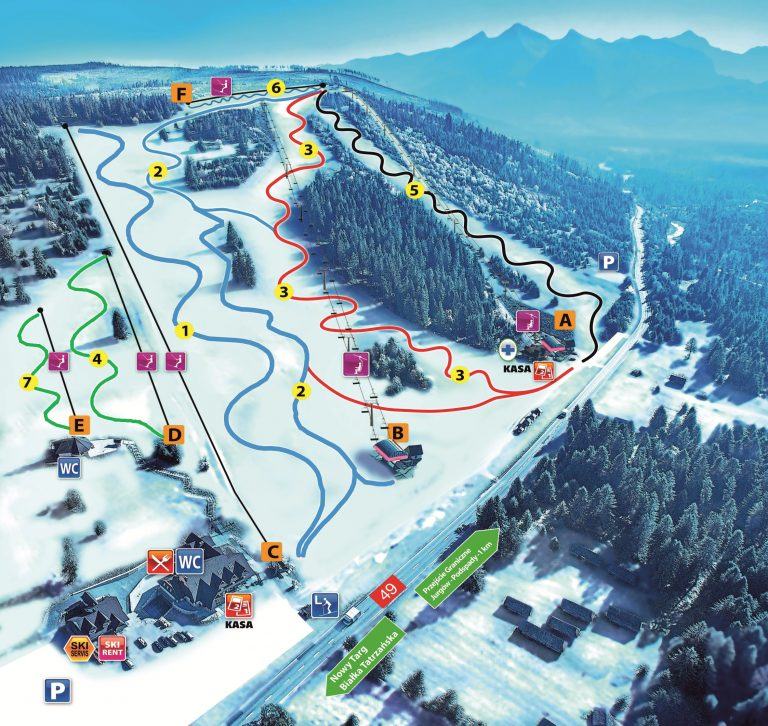 Jurgow Piste Map - Come and ski here with White Side Holidays Poland