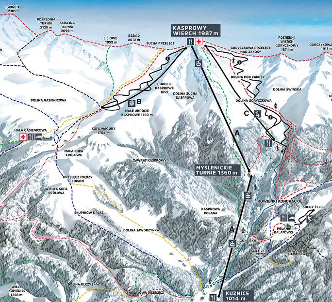 Kasprowy Wierch Piste Map - Come and ski here with White Side Holidays Poland