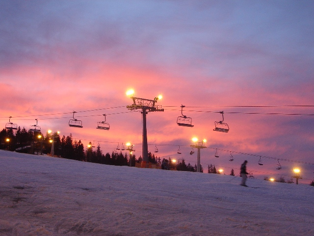 Night Skiing at Bialka Ski Area, Poland