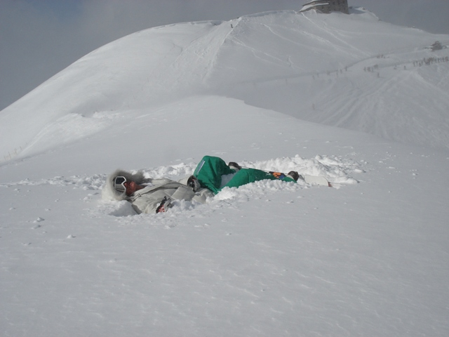 Gaz laid in deep snow at Kasprowy Wierch, Zakopane, Poland