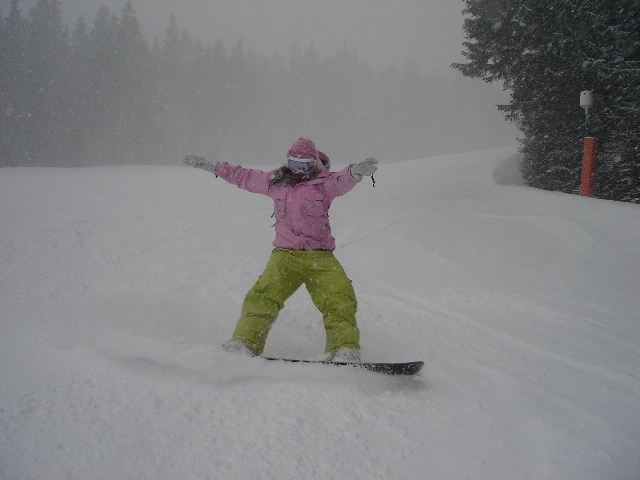 Monika snowboarding on a White Side Holidays day trip to Jasna, Slovakia