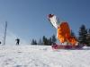 Monika snowboarding at Bialka ski area, Poland