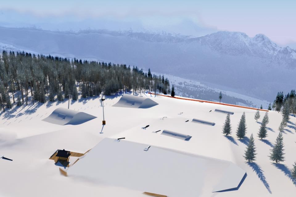 A 3D mockup of the plans for the new layout of the snow park on Gubalowka for the 2016/17 season - doubling up in size!