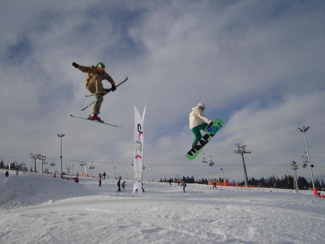 Tex and Gaz at the Burton Snow Park at Bialka Ski Area, Zakopane, Poland