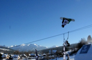 Gaz competing, mid rodeo flip in Witow Snow Park, Zakopane