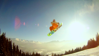 Gaz jumping at the Gubalowka Salomon Snowpark overlooking Zakopane
