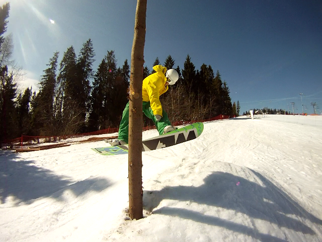 Gaz enjoying a new feature at Bialka\'s snowpark in April 2012