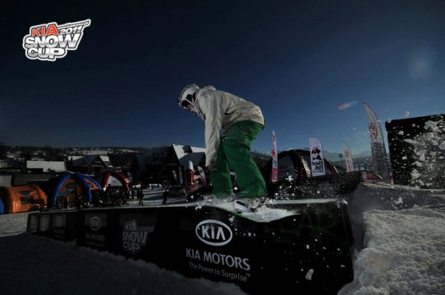 Gaz competing in the Kia Snow Cup Rail Jam in Witow