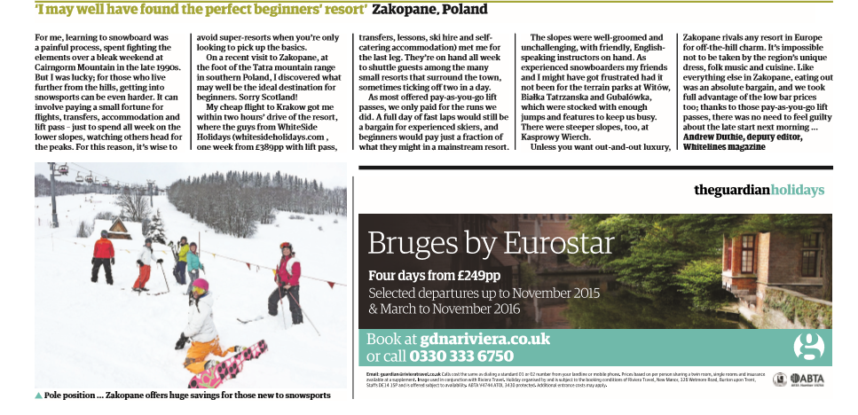 Skiing in Zakopane, Guardian Travel Article with White Side Holidays Poland