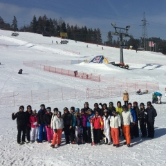 A group being hosted by White Side Holidays Poland in Zakopane out skiing for the day