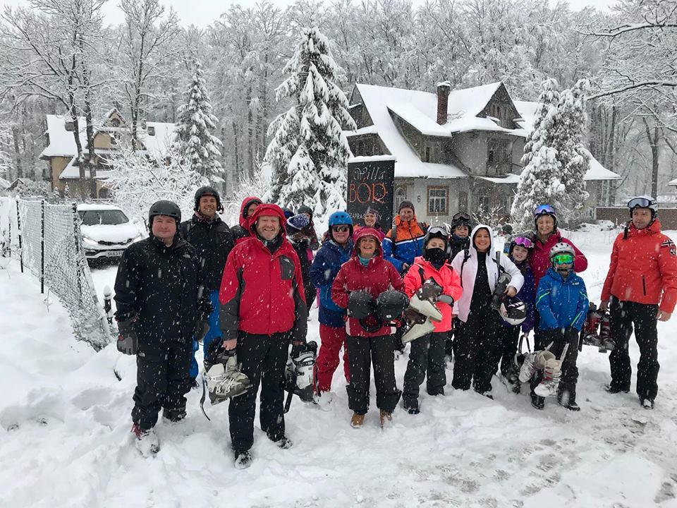 New Year skiing guests 2018 outside Willa Bor in Zakopane