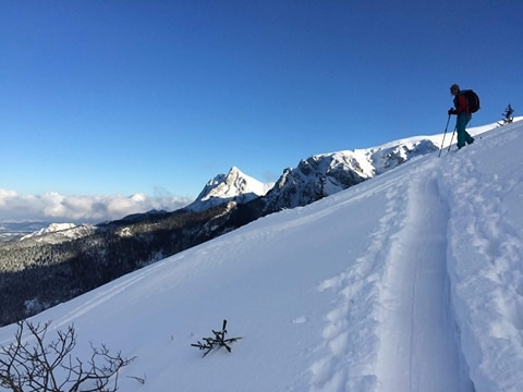 Ewa out skiing, 1st December 2017, the snow keeps coming!