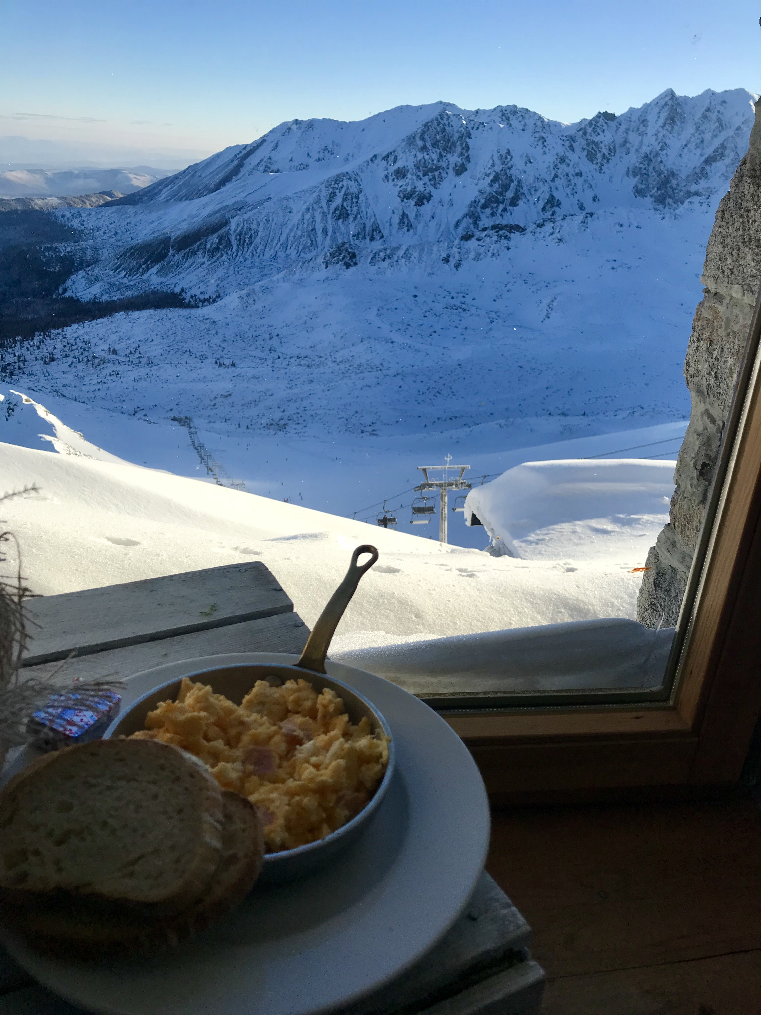 Bacon and Eggs for breakfast at the top of Kasprowy Weirch with White Side Holidays, Ski Poland