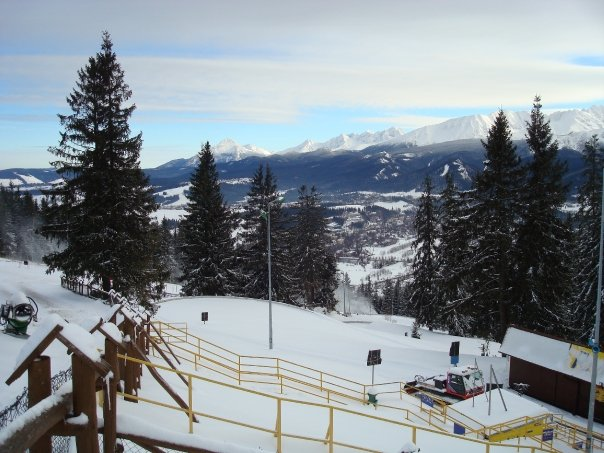 scenic images of zakopane poland in the winter ski season